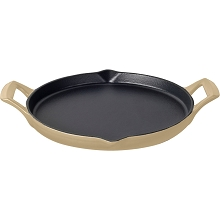 La Cuisine 12 In. Cast Iron Griddle with Enamel Finish in Cream - LC 9185