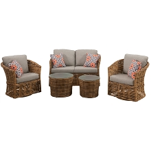 Mod Lexi 5 Piece Set with 2 Swivel Chairs, Loveseat and 2 Woven Glass Top Side Tables