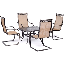 Hanover Manor 5-Piece Patio Rocking Set with Four C-Spring Rockers and a 24