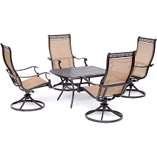 Hanover Manor 5-Piece Patio Rocking Set with Four Swivel Rockers and a 24