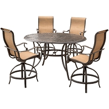 Manor 5-Piece High-Dining Set with a 56 In. Cast-top Table and 4 Counter-Height Swivel Chairs - MANDN5PC-BR
