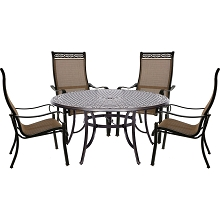 Hanover Manor 5-Piece Outdoor Dining Set with a Large 60 In. Table and Four Contoured Dining Chairs - MANDN5PCRD