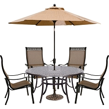 Hanover Manor 5-Piece Outdoor Dining Set with Four Contoured Dining Chairs, a 60 In. Cast-Top Table, and a 9 Ft. Umbrella and Stand - MANDN5PCRD-SU