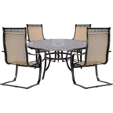 Hanover Manor 5-Piece Outdoor Dining Set with C-Spring Chairs and a Cast-top Dining Table - MANDN5PCSPRD