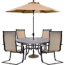Hanover Manor 5-Piece Outdoor Dining Set with a 60 In. Cast-top Table, 4 Contoured C-Spring Chairs, 9 Ft. Table Umbrella and Stand - MANDN5PCSPRD-SU