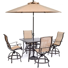 Hanover Manor 5-Piece High-Dining Set with 4 Swivel Chairs, a 42