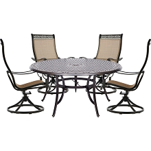 Hanover Manor 5-Piece Outdoor Dining Set with Four Swivel Rockers and a 60 In. Dining Table - MANDN5PCSWRD4