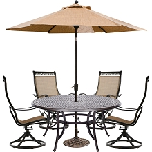 Hanover Manor 5-Piece Outdoor Dining Set with Four Swivel Rockers, a 60 In. Dining Table, 9 Ft. Table Umbrella and Umbrella Stand - MANDN5PCSWRD4-SU