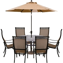 Hanover Manor 7-Piece Dining Set with 6 Dining Chairs, a 60 In. Cast-top Dining Table, and a 9 Ft. Table Umbrella with Umbrella Stand - MANDN7PCRD-SU