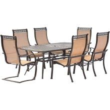 Manor 7PC Dining Set with 4 Dining Chairs, 2 C-Spring Chairs, and a 72 x 38 In. Cast-top Table - MANDN7PCSP-2