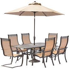 Manor 7PC Dining Set with 4 Dining Chairs, 2 C-Spring Chairs, Cast-top Table, Umbrella and Stand - MANDN7PCSP-2-SU
