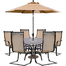 Hanover Manor 7-Piece Dining Set with 6 C-Spring Chairs, a 60 In. Cast-top Table, 9 Ft. Table Umbrella and an Umbrella Stand - MANDN7PCSPRD-SU