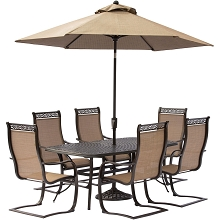 Manor 7PC Dining Set with 6 C-Spring Chairs, a 72 x 38 In. Cast-top Table, 9 Ft. Umbrella and Stand - MANDN7PCSP-SU