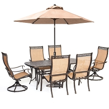 Manor 7PC Dining Set with 2 Swivel Rockers, Cast-Top Table, Umbrella and Stand -  MANDN7PCSW-2-SU