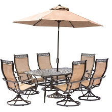 Manor 7PC Outdoor Dining Set with 6 Swivel Rockers, Cast-top Table, 9 Ft. Umbrella and Stand - MANDN7PCSW-6-SU