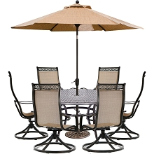 Hanover Manor 7-Piece Outdoor Dining Set with 6 Swivel Rockers, a 60 In. Cast-top Dining Table, and a 9 Ft. Table Umbrella with Stand - MANDN7PCSWRD6-SU