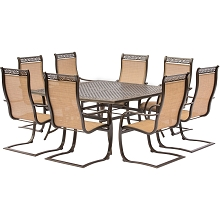 Manor 9PC Outdoor Dining Set with Large Square Table and 8 C-Spring Chairs - MANDN9PCSQSP