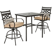 Hanover Montclair 3-Piece High-Dining Set in Country Cork with 2 Swivel Chairs and a 33-Inch Square Table - MCLRDN3PCBRSW2-TAN
