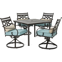 Hanover Montclair 5-Piece Patio Dining Set in Ocean Blue with 4 Swivel Rockers and a 40-Inch Square Table - MCLRDN5PCSQSW4-BLU