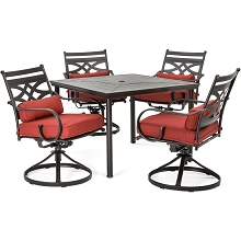 Hanover Montclair 5-Piece Patio Dining Set in Chili Red with 4 Swivel Rockers and a 40-Inch Square Table - MCLRDN5PCSQSW4-CHL