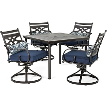 Hanover Montclair 5-Piece Patio Dining Set in Navy Blue with 4 Swivel Rockers and a 40-Inch Square Table - MCLRDN5PCSQSW4-NVY