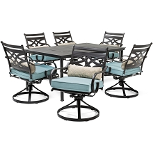 Hanover Montclair 7-Piece Dining Set in Ocean Blue with 6 Swivel Rockers and a 40