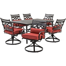 Hanover Montclair 7-Piece Dining Set in Chili Red with 6 Swivel Rockers and a 40