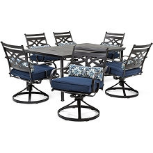 Hanover Montclair 7-Piece Dining Set in Navy Blue with 6 Swivel Rockers and a 40