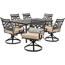 Hanover Montclair 7-Piece Dining Set in Country Cork with 6 Swivel Rockers and a 40
