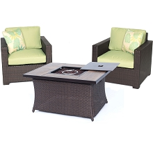 Metropolitan 3PC Chat Set with Tile-top LP Gas Fire Pit in Avocado Green - MET3PCFP-GRN-A
