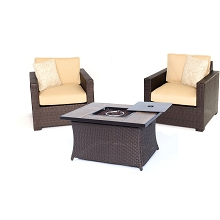 Metropolitan 3PC Chat Set with Tile-top LP Gas Fire Pit Table in Sahara Sand - MET3PCFP-TAN-A