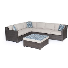 Metropolitan 5PC Sectional Set in Silver with Gray Weave - METRO5PC-G-SLV