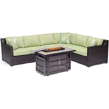 Hanover Metropolitan 6-Piece Fire Pit Lounge Set in Avocado Green with a 30,000 BTU Gas Fire Pit Table - METRO5PCRECFP-GRN