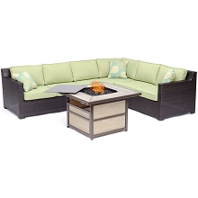 Hanover Metropolitan 6-Piece Fire Pit Lounge Set in Avocado Green with a 40,000 BTU Gas Fire Pit Table - METRO5PCSQFP-GRN