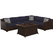 Metropolitan 6PC Woven Fire Pit Set with Wood Grain Tile Top in Navy Blue - METRO6PCFP-NVY-A