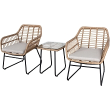 Mod Mia 3-Piece Bistro Chat Set with 2 Hand-Woven Wicker Chairs, Grey Cushions, and Glass Top Side Table, MIA3PC-GRY