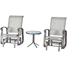 Hanover Manchester 3-Piece Bistro Glider Set with 2 Sling Glider Chairs and Side Glass Top Table, MNCR3PC-GRY