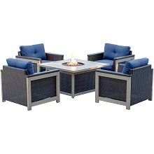 Hanover Montana 5PC Fire Pit Chat Set in Navy Blue with 40,000 BTU Fire Pit Table - MNT5PCFPST-NVY