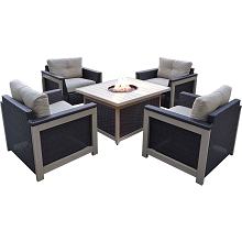Hanover Montana 5PC Fire Pit Chat Set in Tan with 40,000 BTU Fire Pit Table - MNT5PCFPST-TAN