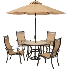 Monaco 5PC Dining Set with 9-Ft. Table Umbrella - MONACO5PC-SU