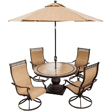 Monaco 5PC Swivel Rocker Dining Set with 9-Ft. Table Umbrella - MONACO5PCSW-SU