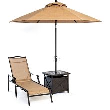 Monaco Chaise Lounge Chair with Side Table and Umbrella - MONCHS3PC-SU