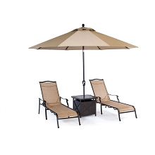 Monaco 4PC Chaise Lounge Set with Side Table and Umbrella - MONCHS4PC-SU