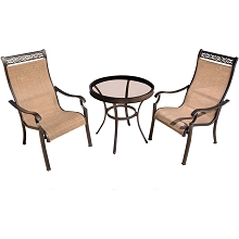 Monaco 3PC Bistro Set with Glass Table  - MONDN3PCG