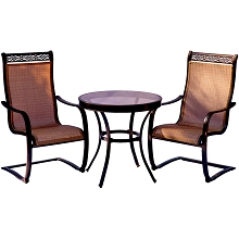 Monaco 3PC Bistro Set with C-Spring Sling Chairs and a 30 In. Glass-Top Table - MONDN3PCSPG