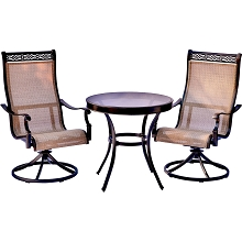 Monaco 3PC Bistro Set with Swivel Rockers and a Glass-Top Table - MONDN3PCSWG
