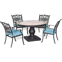 Hanover Monaco 5-Piece Dining Set in Blue with 4 Cushioned Dining Chairs and a 51 In. Tile-Top Table - MONDN5PC-BLU