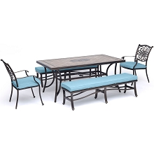 Hanover Monaco 5-Piece Dining Set in Blue with 2 Dining Chairs, 2 Cushioned Benches, and a 40