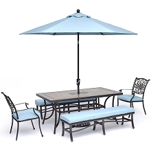Hanover Monaco 6-Piece Dining Set in Blue with 4 Arm Chairs, 1 Bench, a 40