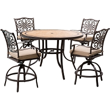 Monaco 5-Piece High-Dining Set in Tan with 6 Swivel Chairs and a 56 In. Tile-top Table - MONDN5PCBR-C
